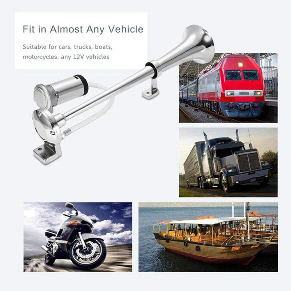 Car Horn 12V 24V 150db Chrome 45cm Simple Trumpet Speakers with Compressor for Vehicle Trucks Trains Boats