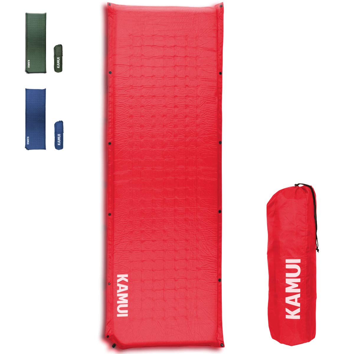 KAMUI Self Inflating Sleeping Pad - 2 Inch Thick Camping Pad Connectable with Multiple Mats for Tent and Family Camping (Red) by KAMUI