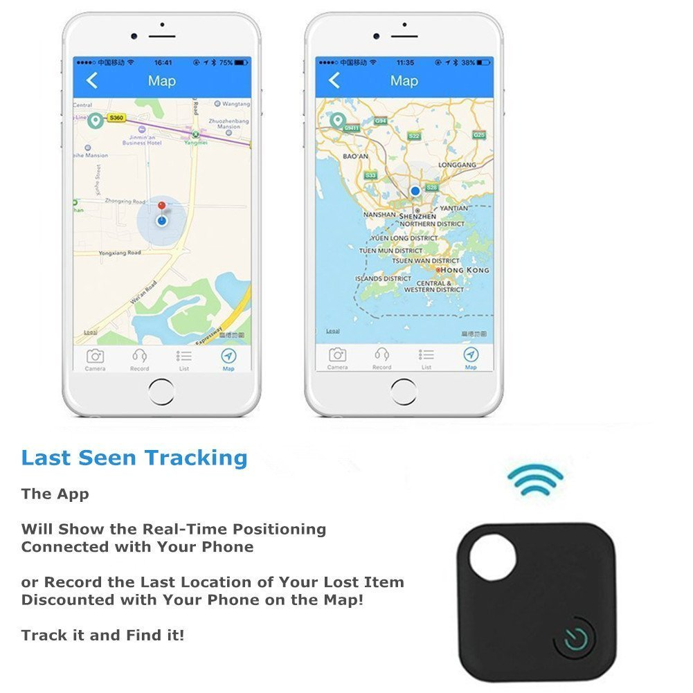 Black Supporting Remote Self-Timer and Record Yuanjianzuoshi business guwen shenzhen co ltd JL-P5B Komire Mini Smart Key Finder Phone Finder Kid Wallet Bag Pet GPS Locator with App for Android IOS Wireless Bluetooth Tracker Anti-lost alarm