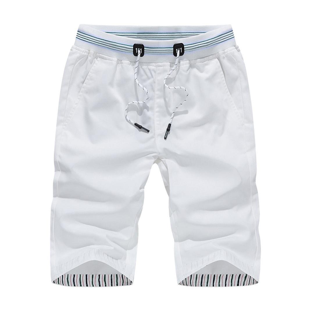 Vcenty Breathable Men's Basic Swim Trunk Beachwear Quick Dry Drawstring Board Shorts (4XL, White)