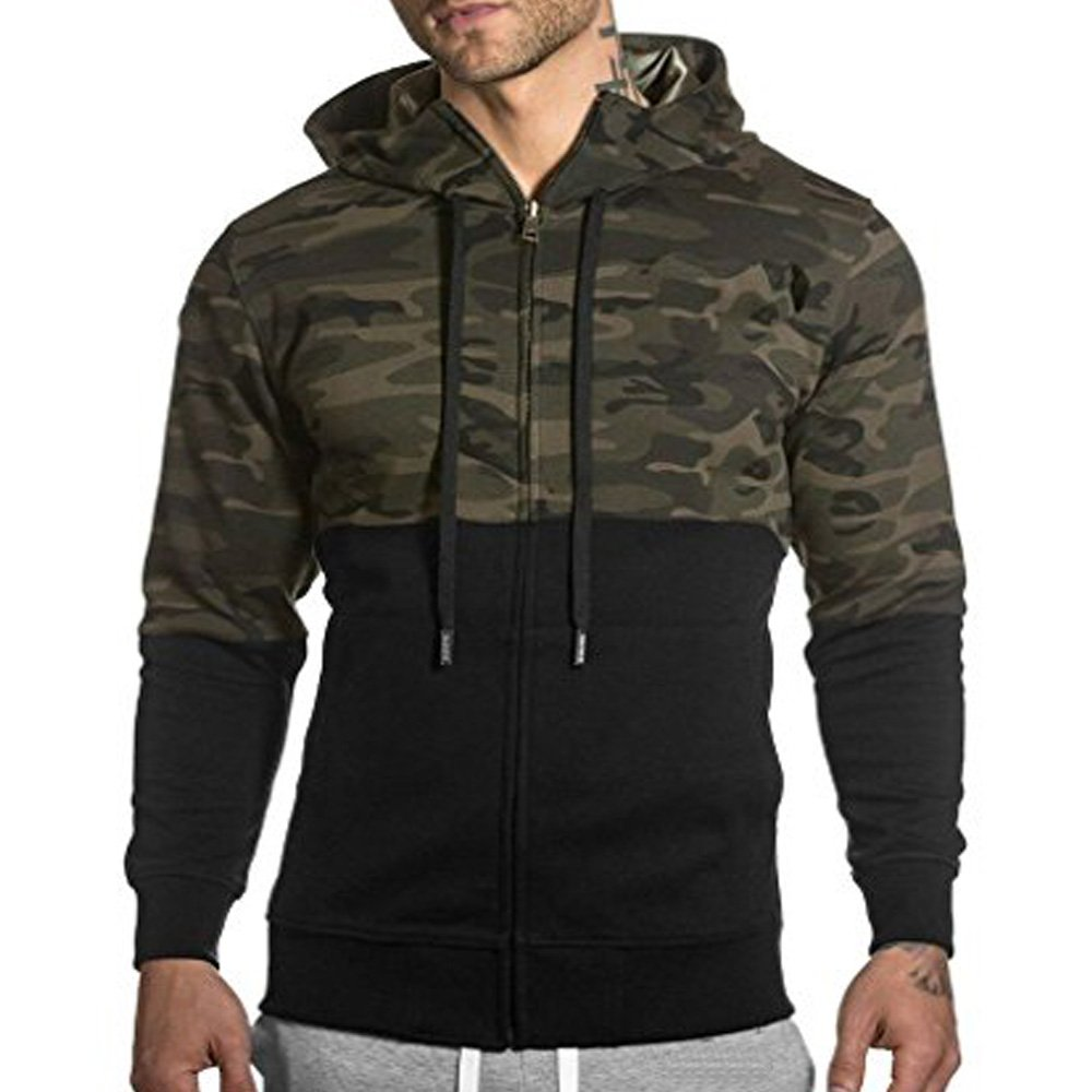 Men's Gym Workout Hoodie Jacket Fitted Training Bodybuilding Running Active Sweatshirts With Zipper Pockets Camouflage XS Tag M