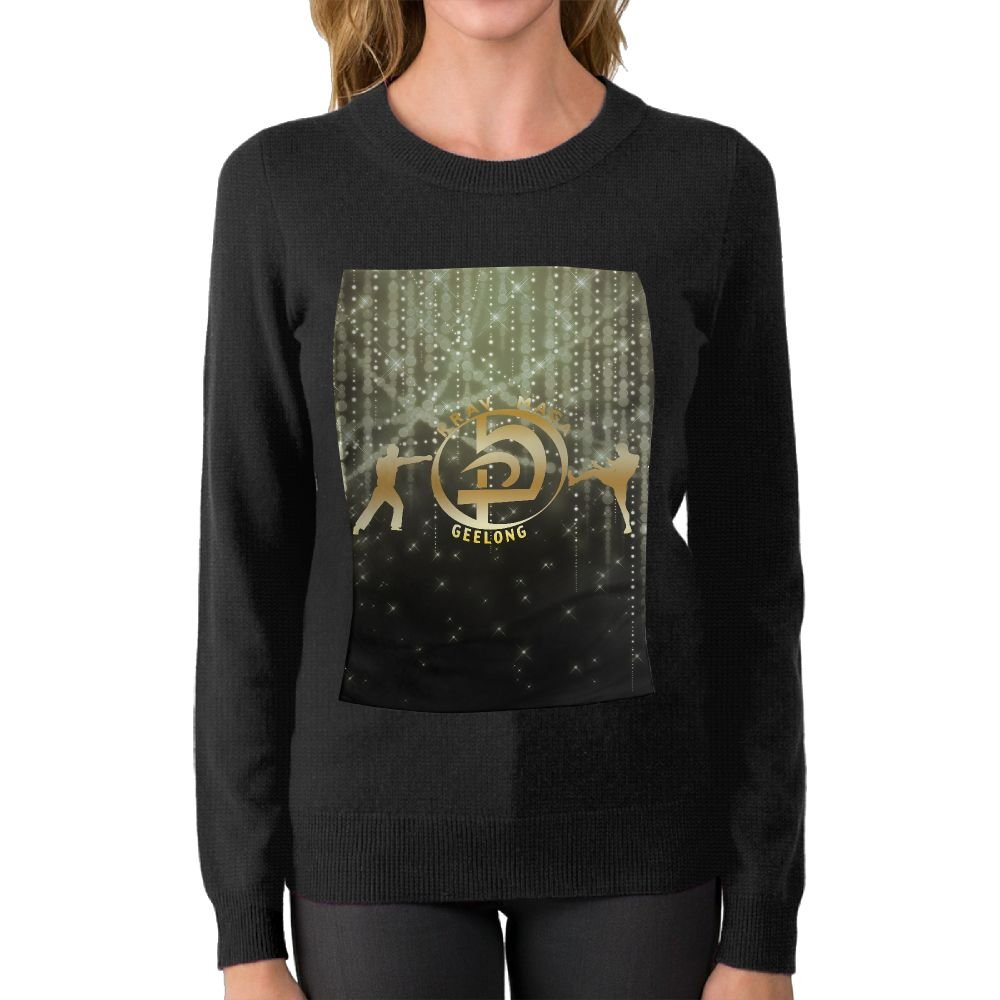 FHREISWE Women's KMG Krav Maga Geelong Gold Logo Round Neck Sweater Soft Pullover Top by FHREISWE