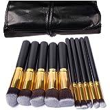 AlierKin professionale Pennelli trucco insieme di spazzola cosmetico compone, Make Up Set con borsetta da viaggio per gli appassionati di trucco,10 pezzi per fondotinta, fard, ombretto, cipria, creme,