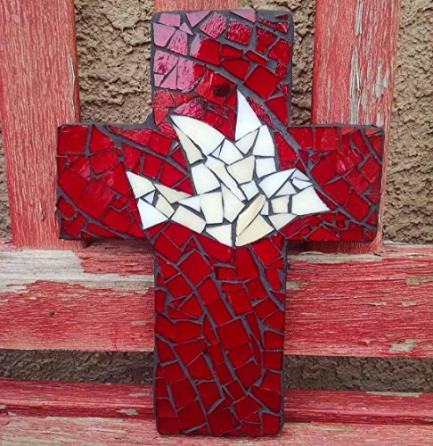 Dove Cross Stained Glass (9 inch X 6 inch Handcrafted Mosaic Dove Wall Cross, Ivory and Red stained glass with charcoal colored)