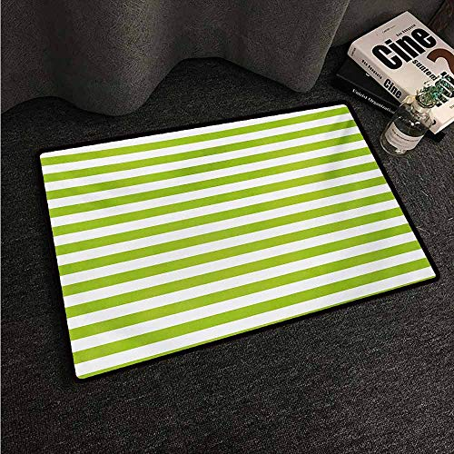 (HCCJLCKS Fashion Door mat Lime Green Horizontal Stripes Simplistic Watercolor Paintbrush Large Lines Image Country Home Decor W24 xL35 White Lime Green)