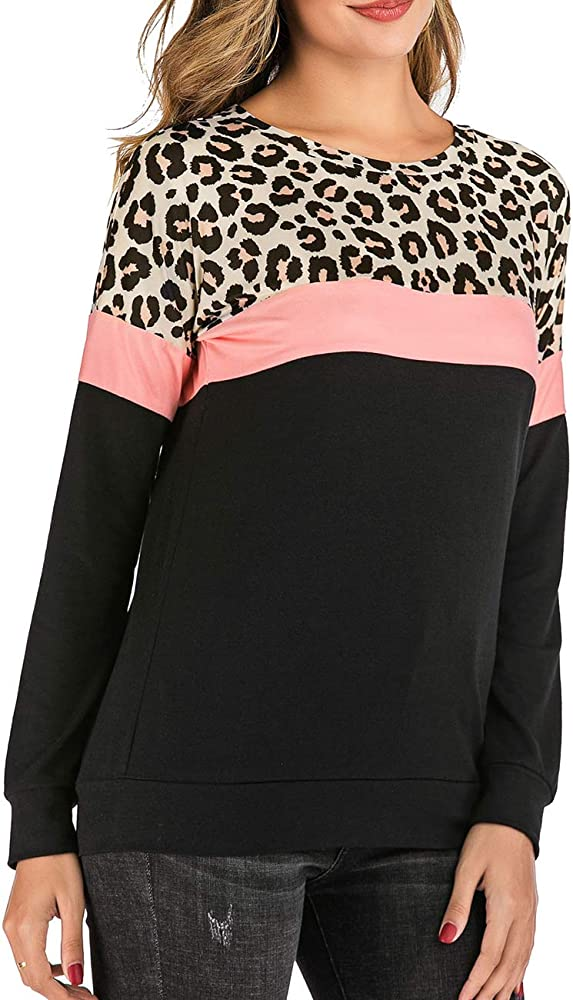 Halife Womens Long Sleeve Color Block Tops Leopard Camo Pullover Tunic Shirts Blouses