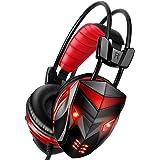 POSUGERA Casque Gaming, Micro Casque Gamer Audio Stéréo Basse avec LED Lampe Headset pour PC, Laptop, Ordinateur Jeu avec Annulation de Bruit et Contrôle du Volume