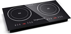 Trighteach Portable Induction Cooktop(Double Countertop Burner) 2200W Electric Stove with Digital Touch Sensor and Kids Safety Lock, 9 Power Levels Induction Cooker Suitable for Magnetic Cookware