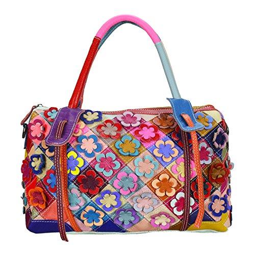 Sibalasi--Unique Women's Colorful Genuine Leather Shouder Bag Tote Multicolor Flower Boston Bag Black & White Satchel Big Handbag (Colorful)