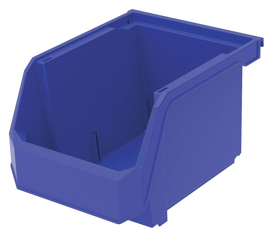 Hang and Stack Bin, Blue, 11'' Outside Length, 8-1/4'' Outside Width, 7'' Outside Height pack of 5