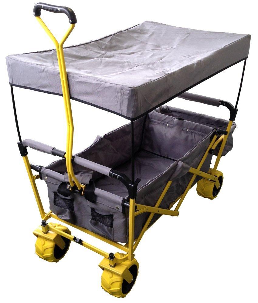 折りたたみ式キャリーワゴン どこでもキャリーワゴン(ルーフ付)【グレー/イエロー】:送料無料 B010SDN16S