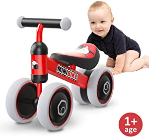 Baby Balance Bikes 10-24 Month Children Walker | Toys for 1 Year Old Boys Girls | No Pedal Infant 4 Wheels Toddler Bicycle | Best First Birthday New Year Holiday