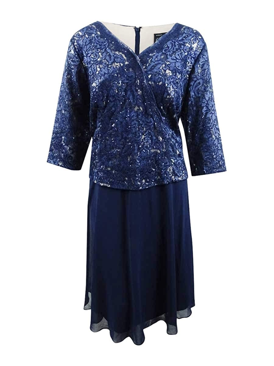 Navy   Nude Alex Evenings Womens Plus Lace Embroidered Midi Dress