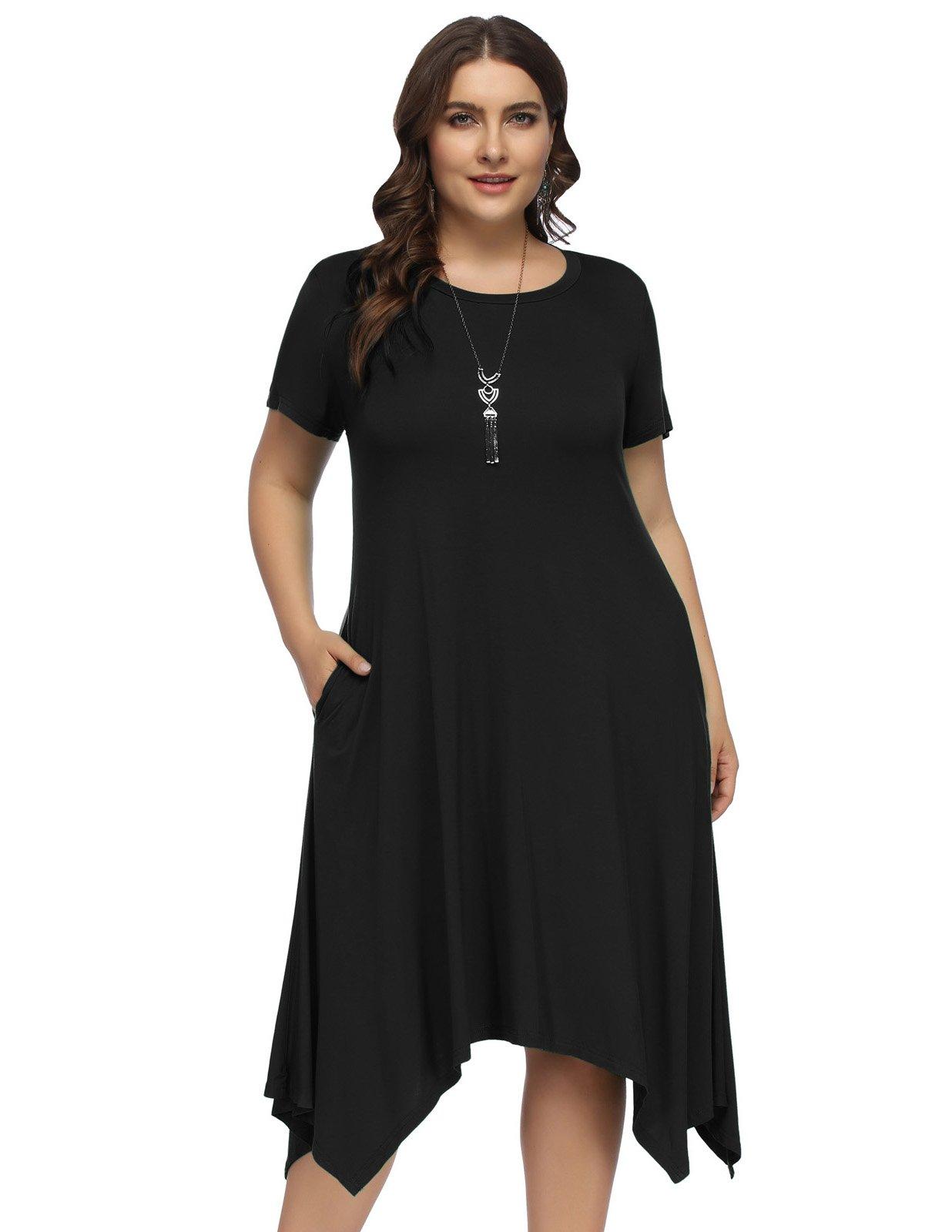 Hanna Nikole Women Summer Short Sleeve Irregular Hem Plus Size Tunic Dress Size 20W Black