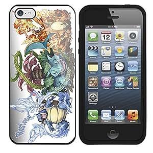 Pokemon Popular Venusaur Charizard Blastoise Apple iPhone 5 TPU Soft Black or White Cases (Black)