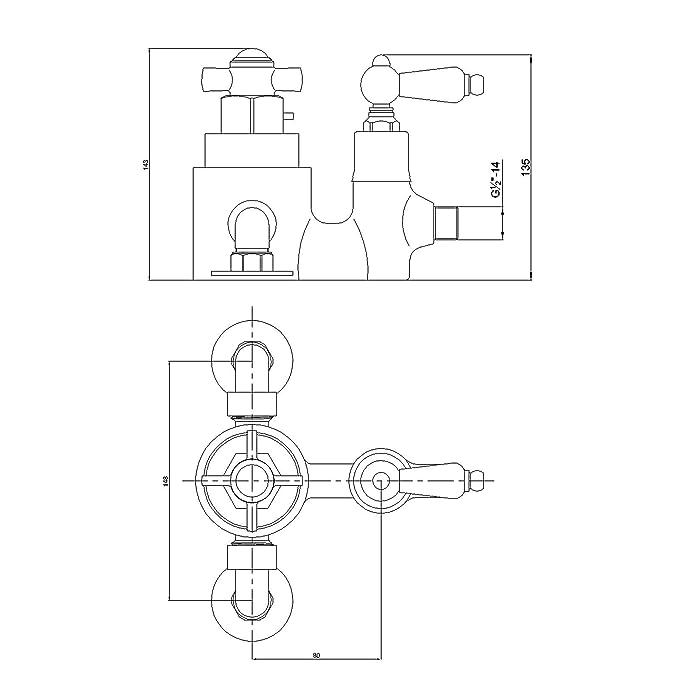 ENKI grifo mezclador termostática set ducha telescópic latón traditional vintage: Amazon.es: Bricolaje y herramientas