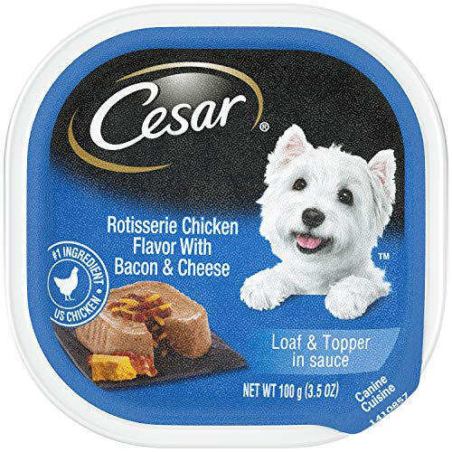 CESAR Wet Dog Food Loaf & Topper in Sauce Rotisserie Chicken Flavor with Bacon and Cheese, (24) 3.5 oz. Trays