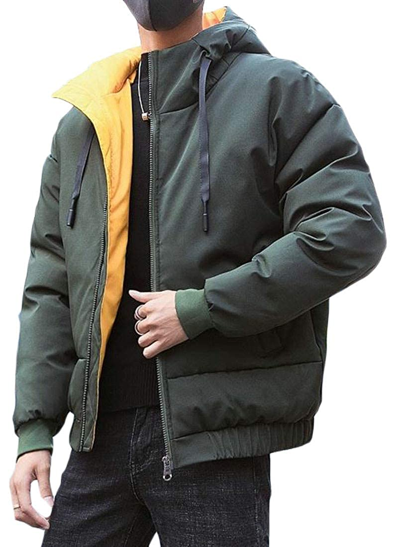 Cromoncent Mens Loose Fit Winter Hooded Contrast Color Quilted Parka Coat Jacket