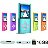 RHDTShop MP3 Player, Music Player with a 16GB Card, Blue
