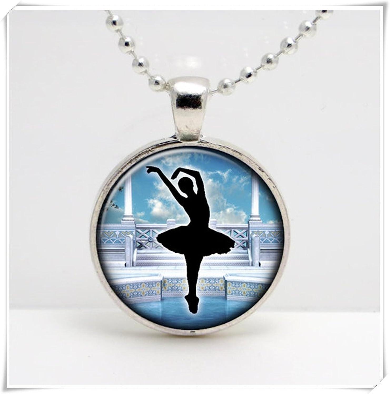 Leonid Meteor Bailarina de ducha silueta sobre piscinas y columnas azules, colgante de cristal de arte, un regalo exquisito.