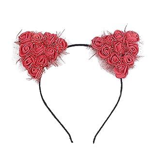 caolator Venda Linda bolla fiori orecchie di gatto anello di capelli Hermosas Nastri Donna Decorazione Di Capelli Natale Compleanno Feste nastro per capelli accessori rosso