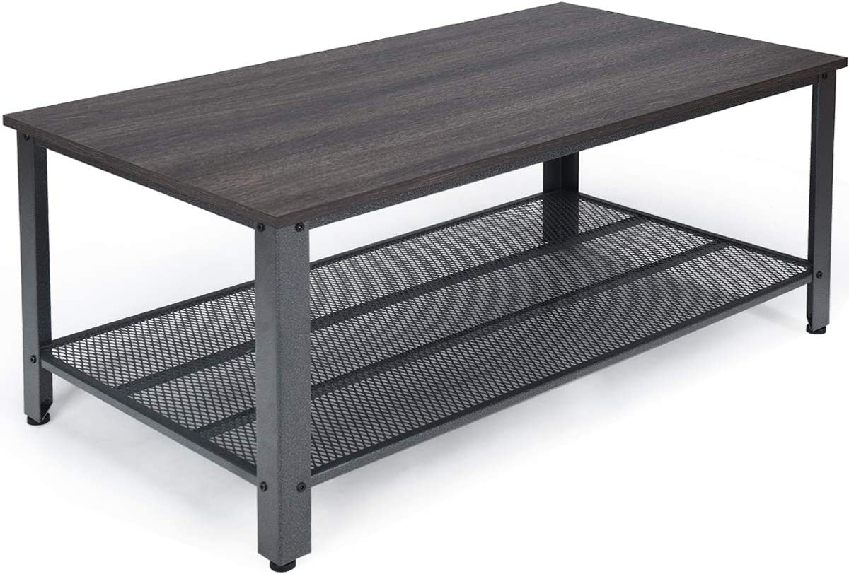 Giantex Coffee Table 42 Inch W Storage Shelf and Adjustable Feet, Retro Style and Scratch-Proof Multipurpose for Living Room Accent Tea Snack Table Gray