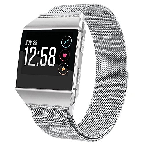 hooroor Compatible Bling Bands Replacement for Fitbit Ionic Smart Watch Women Men, Fully Magnetic Closure Clasp Milanese Mesh Loop Stainless Steel Metal Bracelet Strap Wristbands (Silver, Large)