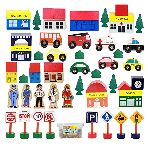 50 Piece Wooden Modern Town Train Set with Accessories, Comes in A Clear Container, Compatible with All Major Brands