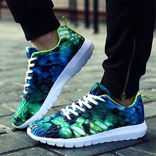 Hombre zapatos de deportes de los hombres zapatillas de deporte zapatos de ocio de encaje Zapatillas de Running Verde claro