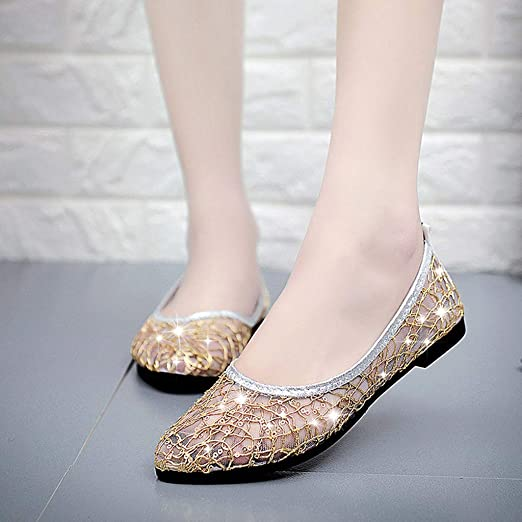 Amazon.com  Woman s Casual Flat Shoes Crystal Sequins Sandals Mesh  Breathable Shallow Shoes Party Dress Shoes Pumps  Clothing e68fc278dbd