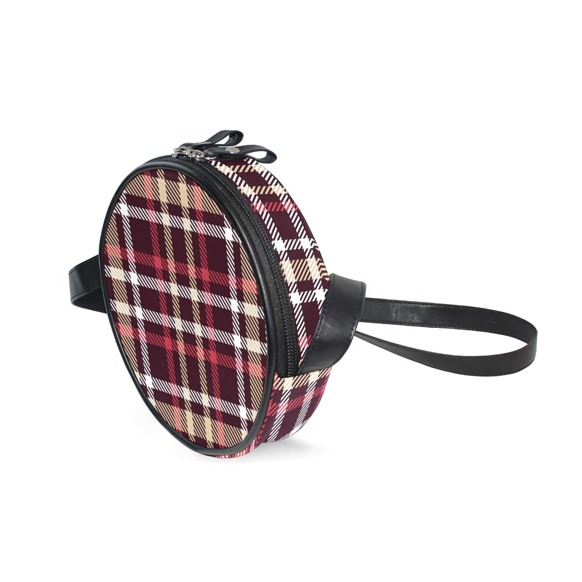 Red And Brown Tartan Seamless Vector Pattern Super Cute Design Small Canvas Messenger Bags Shoulder Bag Round Crossbody Bags Purses for Little Girls Gifts