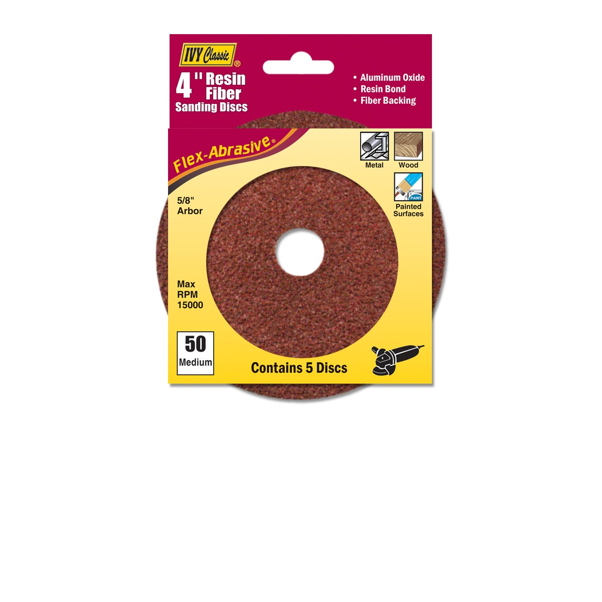 5//Card IVY Classic 42301 Flex-Abrasive 4-Inch x 5//8-Inch 36 Grit Coarse Resin Fiber Disc