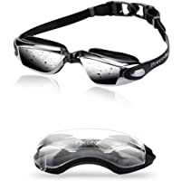 Precede Swim Goggles, Keep Eyes Dry + Clear, Not Blurry Underwater, Strap Custom Fit Face + Nose Bridge, Firm Suction, Comfortable, No Leak, Anti-fog, 13-65 Girls Boys Youth Women Men Adults Swimming