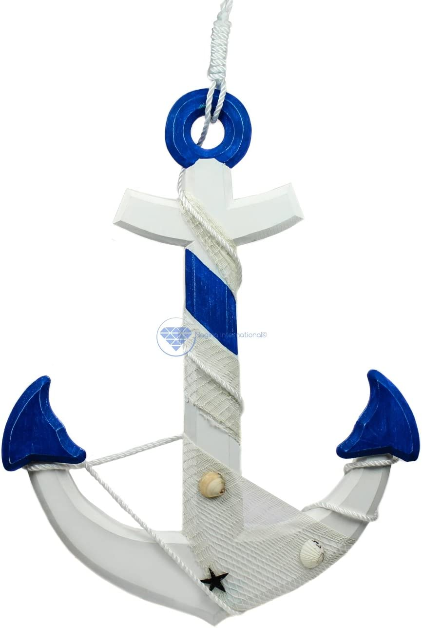 """Nagina International 24"""" Nautical Handcrafted Distressed Wooden Wall Decor White Blue Anchor with Fishing Nets Sea Shells & Rope   Maritime Nautical Decor"""