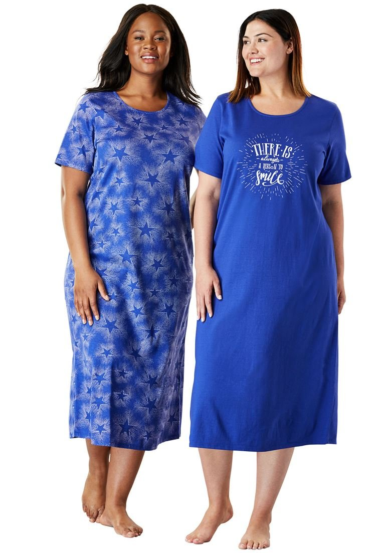 Dreams & Co. Women's Plus Size 2-Pack Long Sleepshirts Blue Sapphire