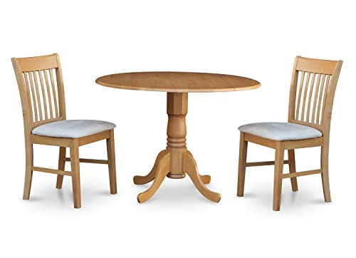 DLNO3-OAK-C 3 Pc Kitchen nook Dining set-small Table and 2 dinette Chairs