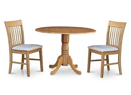East West Furniture DLNO3-OAK-C 3-Piece Kitchen Nook Dining Table Set  sc 1 st  Amazon.com & Amazon.com: East West Furniture DLNO3-OAK-C 3-Piece Kitchen Nook ...