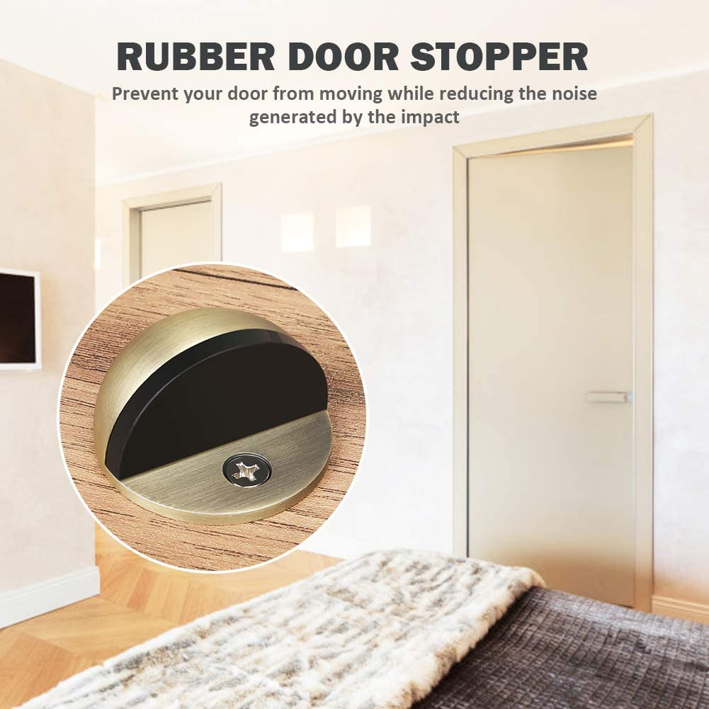 Floor Door Stopper 2 Pack Stainless Steel Brushed Door Stop Wall Protector with Rubber Pad for Protecting Wall