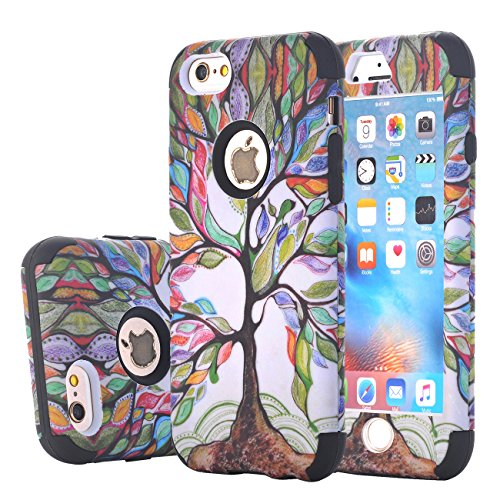 iPhone 6s Case, Harsel Beautiful Life Tree Design Dual Layer Hybrid Armor Soft Silicone Hard Plastic Shockproof Durable Protective Cases Covers Shells for iPhone 6 / 6s (Black)