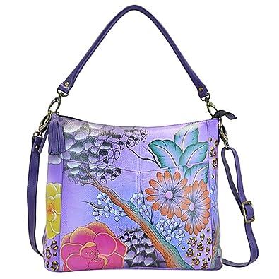 Anna by Anuschka Hobo Handbag - Hand Painted Design on Real Leather - Top  Quality Purse - Free Purse Holder 01efbbf6e5ea5
