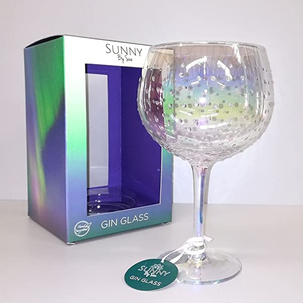 Sunny By Sue Hand Decorated Gold /& Silver Dots  Large Gin /& Tonic Glass