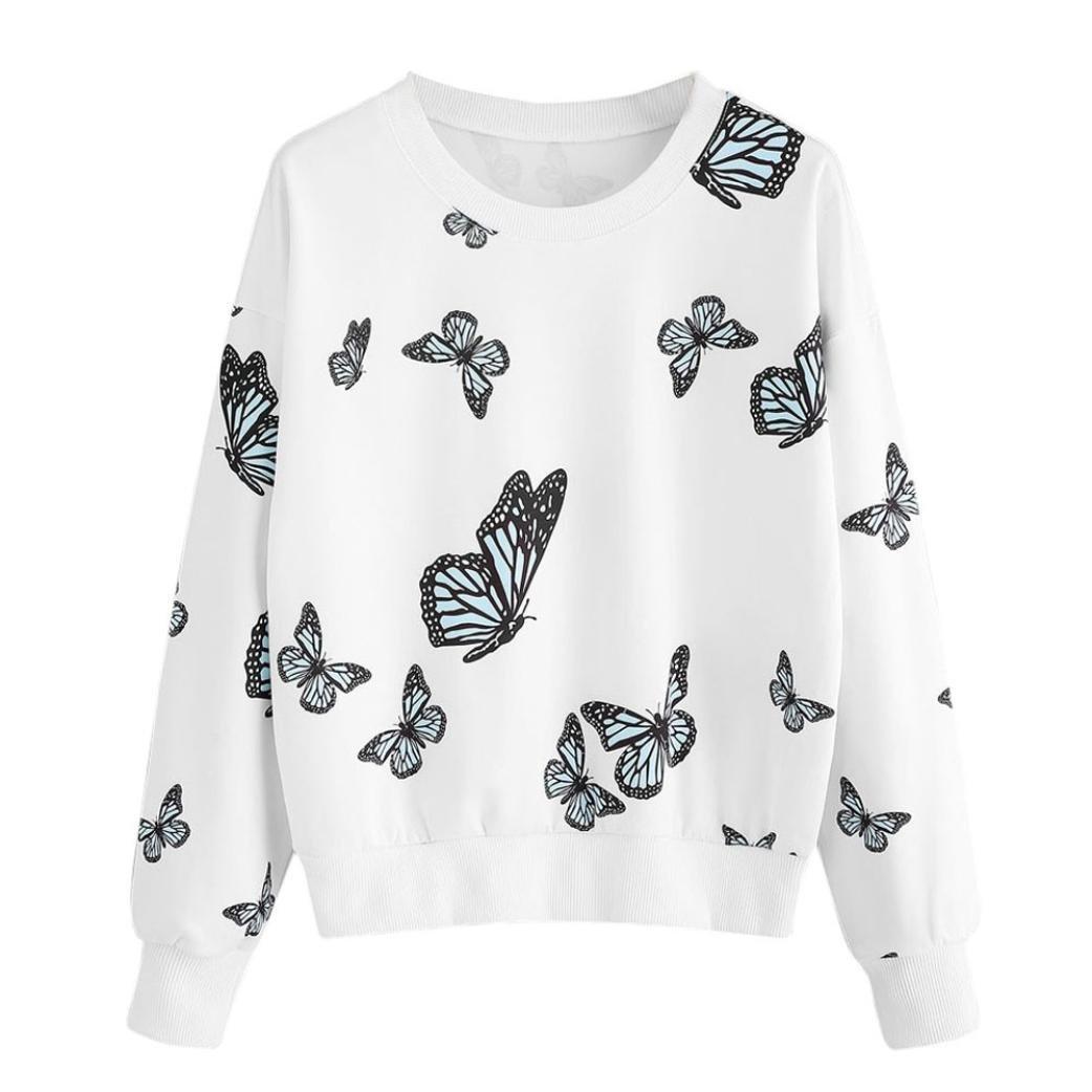 Koly Donna Autunno Manica Lunga Cappotto Giacca Felpa Con Cappuccio Gli Stampare Sweatshirt Hoodies Felpa con stampa a farfalla da donna Camicetta manica lunga Pullover casual Tops