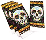 Halloween Kitchen Towels - Pack of 4 100% Cotton Dish Towels (Sugar Skull)