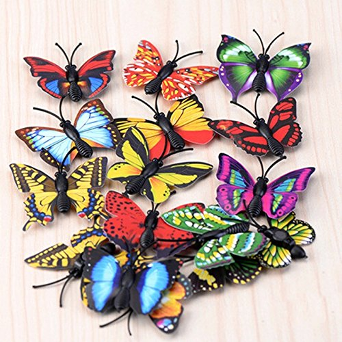 Uoeo 20 Pack Magnetic Fairy Garden Simulation Butterfly Mini Butterfly Multicolored Lifelike Butterfly Moss Micro Landscape Ornaments Young-Home