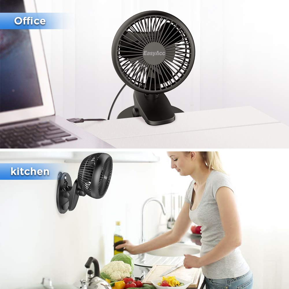 EasyAcc Battery Fan, Clip on Fan Baby Stroller Cooling Fans Strong Wind 4 Speeds 720° Rotation Using 3-15 Hours Portable USB Desk Clip Fan 2600mAh Battery Operated for Strollers Office Dorm Outdoors by EasyAcc (Image #6)