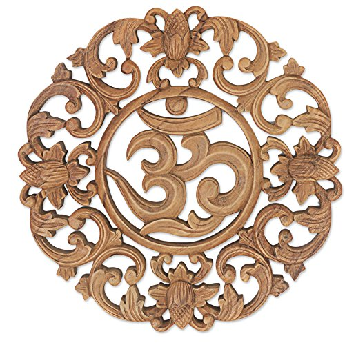 NOVICA Floral Hand Made Suar Wood Relief Panel Wall Art, Brown, 'Flower Om' - Color Story Kitchen Island