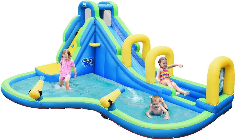 Springburg Wasserpark Planschbecken mit Kletterwand COSTWAY H/üpfburg aufblasbar mit 2 Rutschen Wasserspielplatz mit Transporttasche Wasserrutsche Spielpool Basketballring