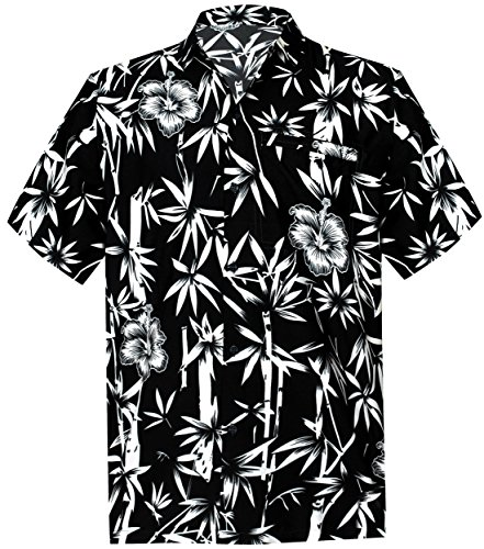 La Leela Aloha Hawaiian Tropical Beach Solid Plain Mens Casual Short Sleeves Button Down Tropical Shirts XL Black (Printed Shirt Silk Camp)