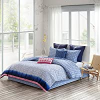 Echo Design Shibori Cotton Reversible Print Comforter Set (King,Blue)