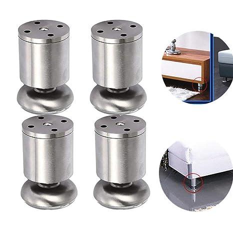 Chytaii 4pcs Pies de Muebles patas de Acero Inoxidable para Gabinete/Mesa de Café/Cama/Sofá Patas de Metal Muebles Armario de Cocina Pies Redondo ...